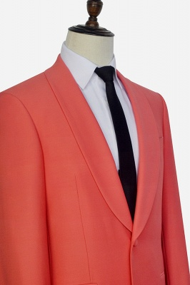 New Arrival Single Breasted One Button 2 Pocket Tailored Suit | Watermelon Red Shawl Collar Custom Suit Groom Wedding Tuxedos_6