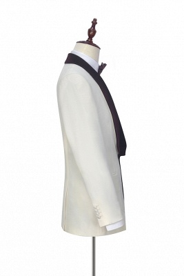 White Red Velvet Shawl Collar One Button Wedding Suit For Groom | Latest Design Single Breasted Slim Fit Suit_5