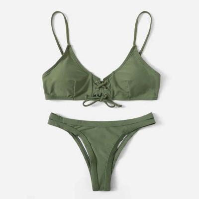 Triangle Pads Lace-up Straps Plain Two Piece Sexy Bikini Sets_2