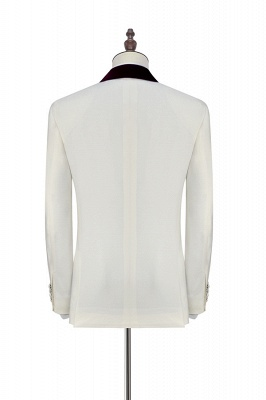 White Red Velvet Shawl Collar One Button Wedding Suit For Groom | Latest Design Single Breasted Slim Fit Suit_4