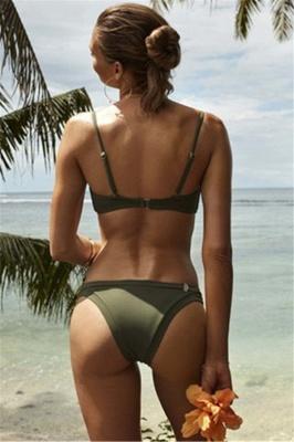 Triangle Pads Lace-up Straps Plain Two Piece Sexy Bikini Sets_9