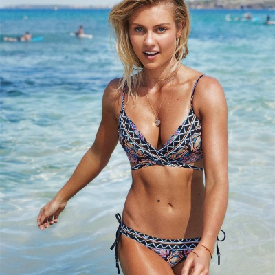 V-neck Spaghetti Tribal Patterns Two Piece Sexy Bikini Sets_3