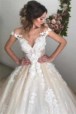 Latest Appliques Off The Shoulder Wedding Dresses Sexy | Sequins Open Back Sleeveless Cheap Bridal Gowns_4