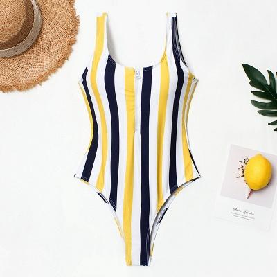 One Piece Zipper Stripes Straps Swimwear Suits_2