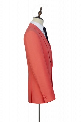 New Arrival Single Breasted One Button 2 Pocket Tailored Suit | Watermelon Red Shawl Collar Custom Suit Groom Wedding Tuxedos_5