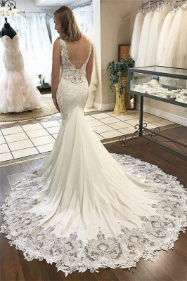 Sexy V-Neck Lace Appliques Wedding Dresses Online | Sleeveless Backless Sexy Mermaid Bridal Gowns Cheap_2
