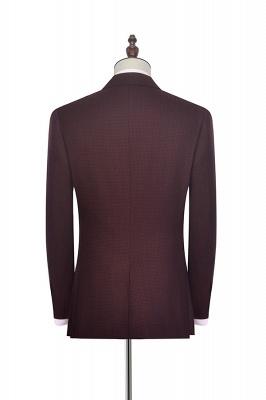Costume sur mesure de revers de petite grille rouge foncé foncé pour hommes | Nouveau costume simple à un bouton homme d'honneur garçons d'honneur hommes_3