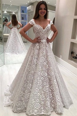 Gorgeous Lace Off The Shoulder Wedding Dresses   Cheap Ruffles Pearls Sleeveless Flowers Bridal Gowns_1