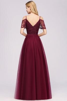 Chiffon Lace Sweetheart Spaghetti Straps Short-Sleeves Floor-Length Bridesmaid Dresses with Ruffles_2