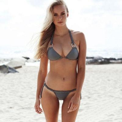 Halter Bandage Swimwear Triangle Two Piece Sexy Bikini Set_3
