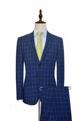 Costume fait sur mesure de revers de laine à motif de grille de laine bleu profond | Costume de mariage unique à deux boutons unique pour marié