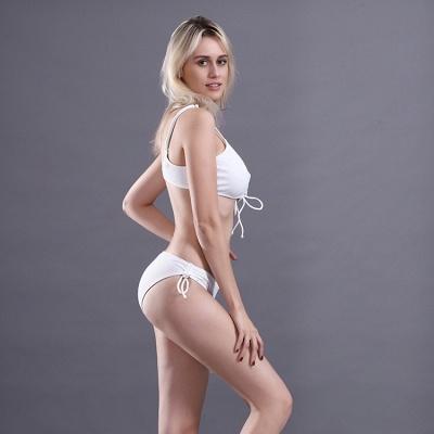 Spaghetti Straps Lace-up Bras Two Piece Sexy Bikini Swimsuits_10