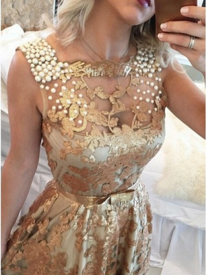 Chic Gold Straps Beaded Sequins Sleeveless Prom Dress_2