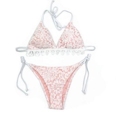 Cute Lace V-neck Two Piece Bandage Sexy Bikini Swimwear_3