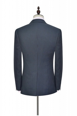 Dark Gray Small Grid One Button Peaked Lapel Custom Wedding Suit | Single Breasted Three-Piece Suit For Men Tuxedos_4