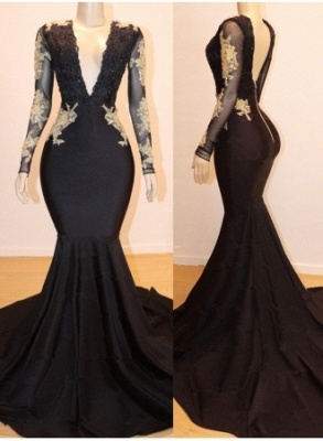 Long Sleeve Appliques Mermaid V-neck Long Prom Dresses Cheap Online_1