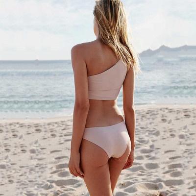 Ensembles de bikini deux pièces décontractés à une épaule et ruban_5