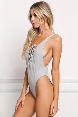 V-neck Straps Lace-up One Piece Swimwear_5