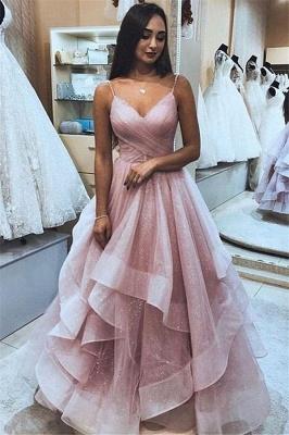Glamorous Pink Spaghetti-Straps  Tulle Ruffle Prom Dresses_1