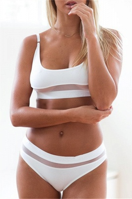 Simple Two Piece Hollow Out Mesh Sexy Bikini Sets_1