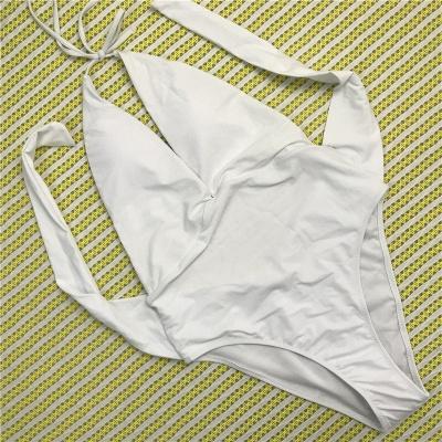 One Piece V-neck Halter Ribbon Bow Swimwear Suits_1