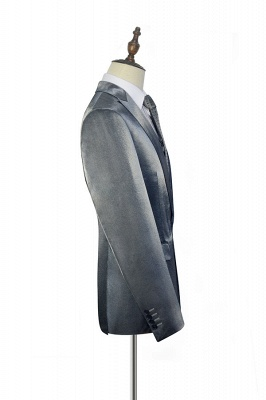 Hot Recommend Grey Velvet Custom Wedding Suit For Groom | Peak lapel Single Breasted 2 Pocket Formal Men Suits_4