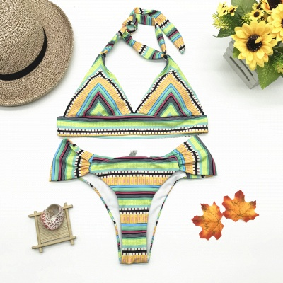 Multicolor Patterned Halter Knot Two Piece Swimwear_4
