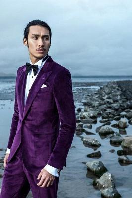 Purple Velvet Peak Revers Costume de mariage sur mesure pour le marié | Costumes simples modernes à un seul bouton_4