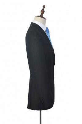 Black Plaid Two Standard Pocket Custom Suit For Formal   Fashion Peaked Lapel Single Breasted Wedding Groom Suits_5