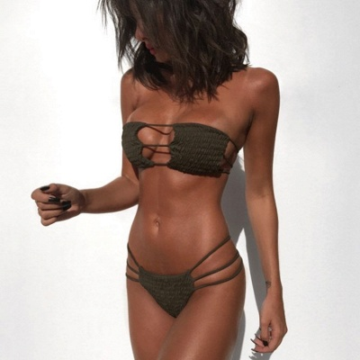Solid Bandage Strapless Two Piece  Sexy Bikini Sets_10