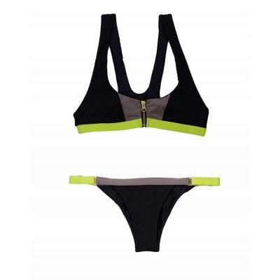 Black contrast Straps Two Piece Sexy Bikini Sets_10