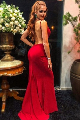 Sexy Burgundy Spaghetti-Straps Backless Sexy Mermaid Prom Dress_2