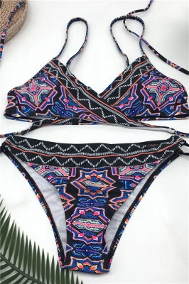 V-neck Spaghetti Tribal Patterns Two Piece Sexy Bikini Sets_6
