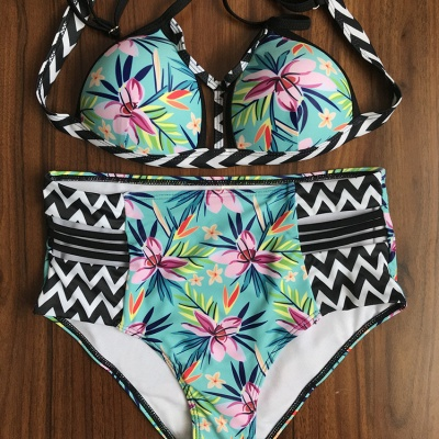 Bikinis à bretelles rembourrées et imprimées à fleurs_9