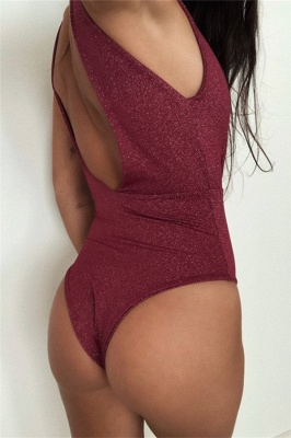 Deep V-neck Cut-out One Piece Maillot Beachwears_4