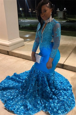 Glamorous Blue Sheer Tulle Lone-Sleeves Flower Applique Sexy Mermaid Prom Dresses_3