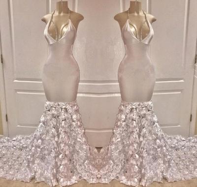 Chic Halter Deep V-Neck Flower Sexy Mermaid Prom Dresses_2