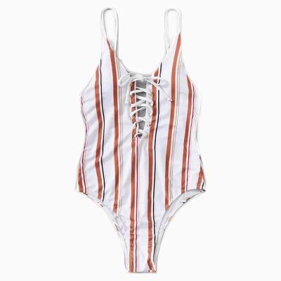 Stripes Spaghetti Lace-up One Piece Swimwear_6