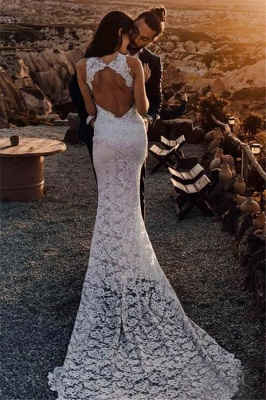 Latest Lace Appliques Halter Open Back  Mermaid Wedding Dresses | Sexy Side Slit Sleeveless Cheap Bridal Gowns_2