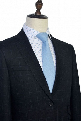 Black Checked Wool Three Slant Pocket Classic Suit For Men | Single Breasted Peaked Lapel Made to Measure Men Business Suit_6