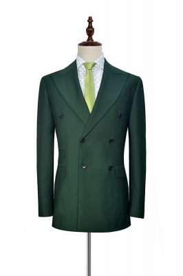Green Double Breasted Tailored Suit For Formal | Peaked Lapel 3 Pockets Custom Made Causal Suit_3