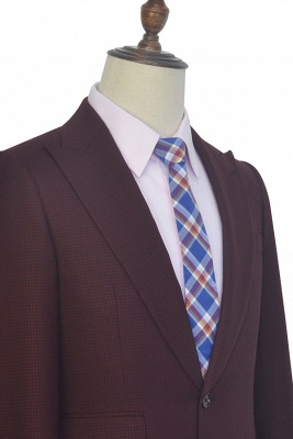 Costume sur mesure de revers de petite grille rouge foncé foncé pour hommes | Nouveau costume simple à un bouton homme d'honneur garçons d'honneur hommes_5