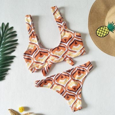 Totem Patterns V-neck Knot Straps Two Piece Sexy Bikini Sets_5