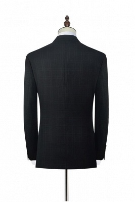 Black Plaid Two Standard Pocket Custom Suit For Formal   Fashion Peaked Lapel Single Breasted Wedding Groom Suits_4