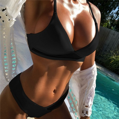 V-neck Spaghetti Straps Two Piece Sexy Bikini Swimsuits_6