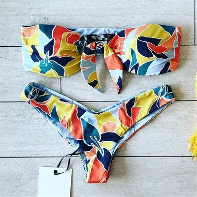 High Waist Strapless Colorful Patterns Two Piece Sexy Bikinis_4