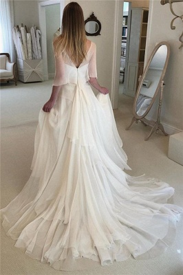 Elegant Appliques Tiered  Sexy Wedding Dresses | See Through Long Sleeve Open Back Cheap Bridal Gowns_2