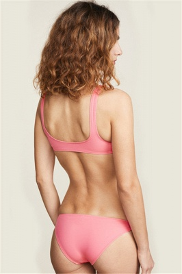 Buckled Straps Pink V-neck Sexy Bikini Swimsuits_3