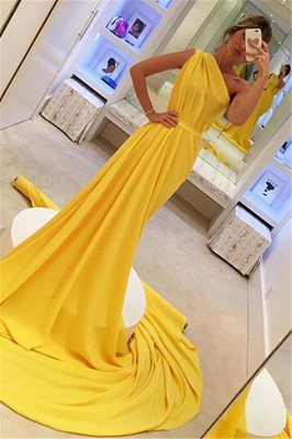 Chic Yellow One-Shoulder Sleeveless Long  Prom Dress