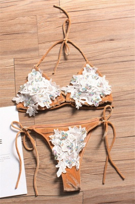Shiny Sewing Diamonds Push-up Bra Triangle Sexy Bikini Swimsuits